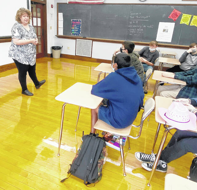 New McClain teacher Teresa Carr is pictured in her Spanish classroom.