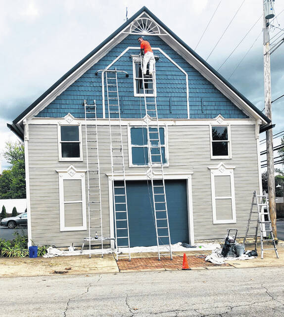 Painting began last week on the carriage house at Murray-Fettro Funeral Home. Other parts of the funeral home will also receive new paint and part of the HVAC system will also be replaced.