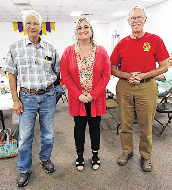 The New Vienna Lions Club met on Sept. 1 with Sarah Martin from Hope House, a shelter for women and children in Wilmington, as the guest speaker. The New Vienna Lions donated $400 to Hope House. Pictured (l-r) are New Vienna Lions Treasurer Charlie Martin, Sarah Martin and New Vienna Lions President Dr. Craig Stratford.