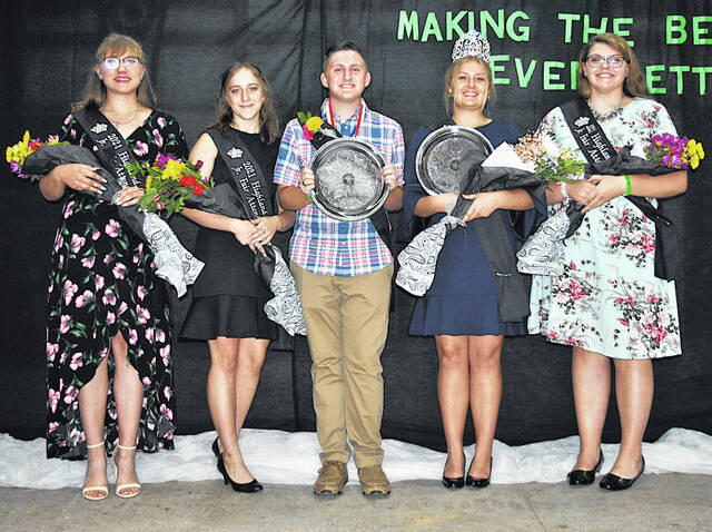 The 2021 Highland County Fair king and queen and their court are pictured (from left), attendants Anne-Marie Ogden and Trinity Edenfield, kind Wyatt Morrow, queen Hannah Hopkins and attendant McKenzie Arnold.