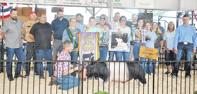 The Reserve Grand Champion Market Hog exhibited by Cade Sponcil sold for $19.50 Wednesday at the Highland County Fair. Itwas purchased by Southern Hills Community Bank Greenfield, Costco, Binegar Truck Auto & Camper, Halterman Equipment, Merchants National Bank Greenfield, Buck's Tire Service, Zach's Automotive, Wagoner's Contruction, C & C Barbershop, Community Markets Greenfield, Diversified Industrial Service, Quality Paving, Greenfield Research, Jack's Equipment, Murray Fettro Funeral Home, Corner Pharmacy, Roman Family Healthcare, Newman Barton Group, McDonald's Greenfield and Farm Credit.