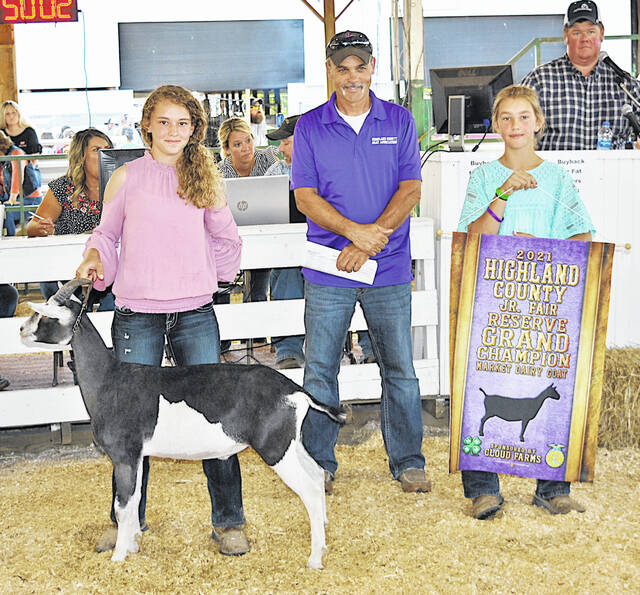 Tara Sinkle's Reserve Grand Champion Market Dairy Goat was purchased for $3 per pound Friday at the 2021 Highland County Fair. It was purchased by Rock Cliff Acres and Service Master.