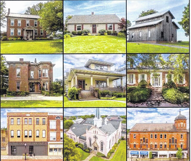 This photo shows nine of the 10 homes or buildings that will be featured in the Highland County Historical Society's Tour of Homes & Historical Buildings on Sunday, Sept. 25. The 10th building is the historical society's Highland House Museum.