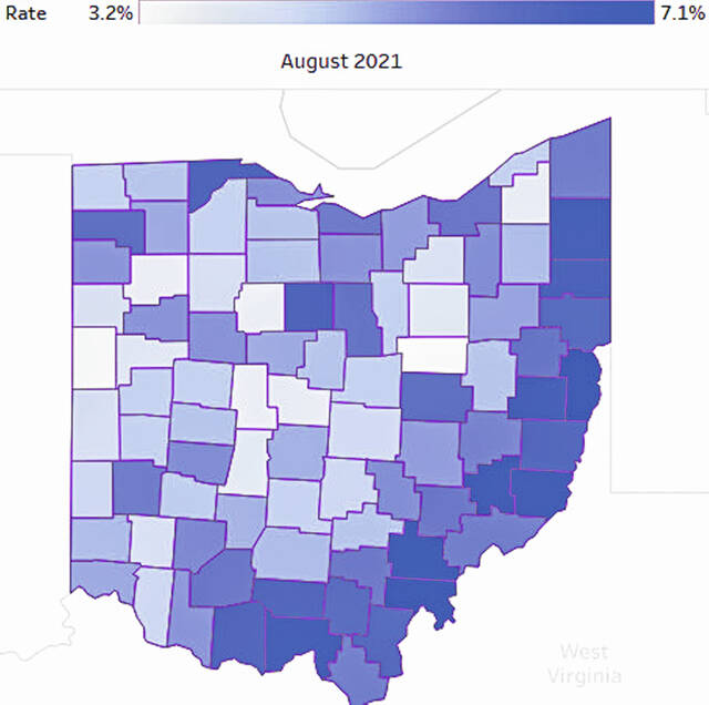 This graphic shows how high or low the unemployment rate is in all 88 counties in Ohio. The lighter-colored counties have lower unemployment rates while darker-colored counties have higher unemployment rates.
