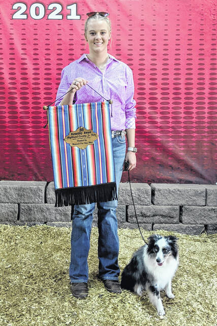 Emmy Hawkins won the dog versatility category during the dog show at the 2021 Highland County Fair. She is a member of the Mowrystown FFA Chapter.