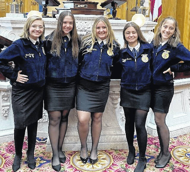 Pictured (l-r) are Hillsboro FFA officers Erin Hedges, Kaylee Earley, Hannah Hopkins, Jessica Howland and Trinity Edenfield.