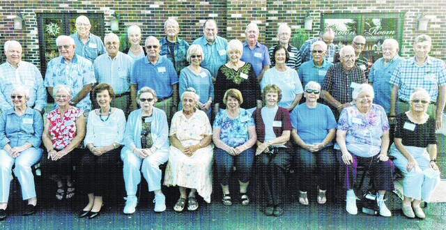 The McClain High School class of 1961 recently held its 60-year class reunion. Some of that attended are pictured (front row, l-r) Carolyn (Young) Hamilton, Connie (Badgley) Marshall-Eblin, Helen (Hupp) Kapp, Mary Jo (Coonrod) Knisley, Sharon (Moon) Truman, Betty (Ladd) Dodds, Joan (Hay) Cockerill, Sharon (Smith) Binegar, Helen (Wilson) Zirkles and Melinda (Burgess) Creamer; (second row, l-r) Castner Waddell, Larry Maynard, Mike Roark, Gail Grim, Shelly (Linkhart) Brown, Anne Marie (Hays) Gunderman, Carol (Patton) Dunlap, Ervin Pollock, Jerry Graham, Paul Narcross and Terry Karnes; (third row, l-r) Greg Day, Eileen (Bowman) Corwin, Fred Pyle, Tom Hamilton, Phil McCoppin, Don Combs, Tom Spradlin and Wayne Combs.