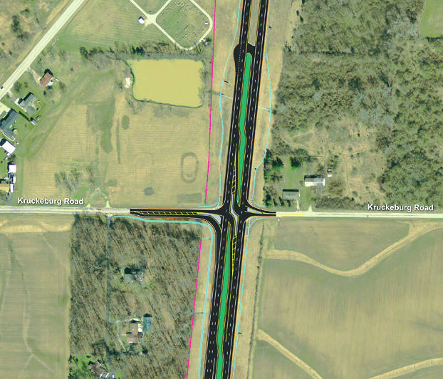 Shown is a representation of the Partial Restricted Crossing U Turn (RCUT) the Ohio Department of Transportation will install at the intersection of U.S. Route 127 and Kruckeberg Road. Many in the community called for closure or improvement of a juncture they deemed hazardous.