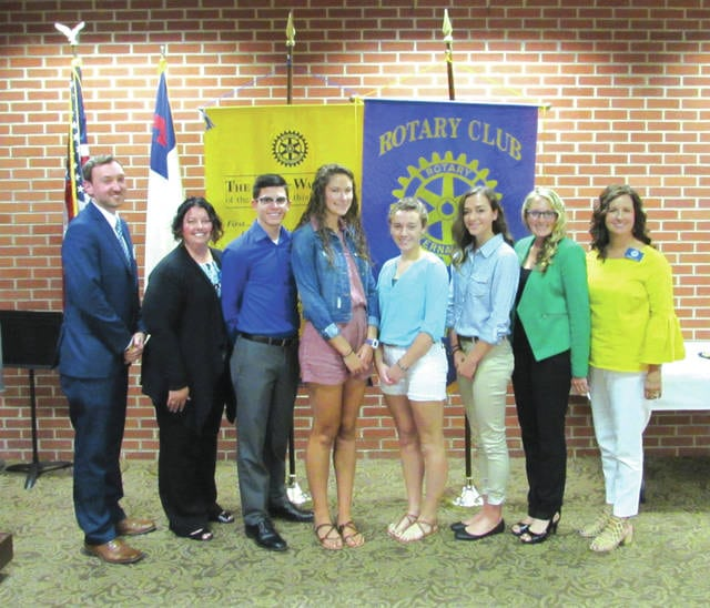 Greenville Rotary Club awarded $1,000 scholarships to local students Tuesday. From left are Rotarians Gavin Glasscoe and Christy Baker; students Josh Smith, Brooke Perreira, Leah Suter and Meg Rehmert; and Rotarians Mindy Jo Stebbins and Kristin Fee. Four students awarded scholarships were unable to attend.
