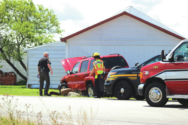 Emergency personnel responded to a two-vehicle accident at the intersection of Arcanum-Bears Mill Road and State Route 571 late Friday morning.