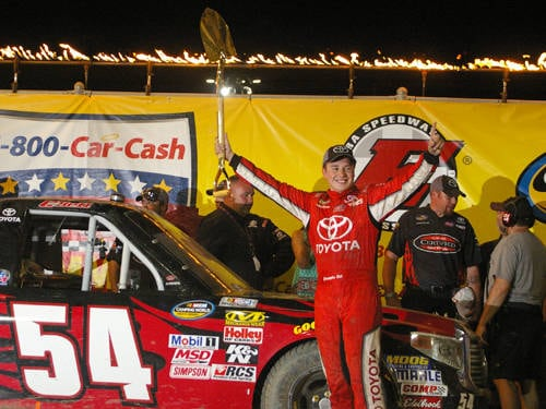 Christopher Bell celebrates after winning the 2015 NASCAR Camping World Truck Series race at Eldora Speedway. Bell is counting on his experience racing on dirt in Wednesday's truck race at Eldora.