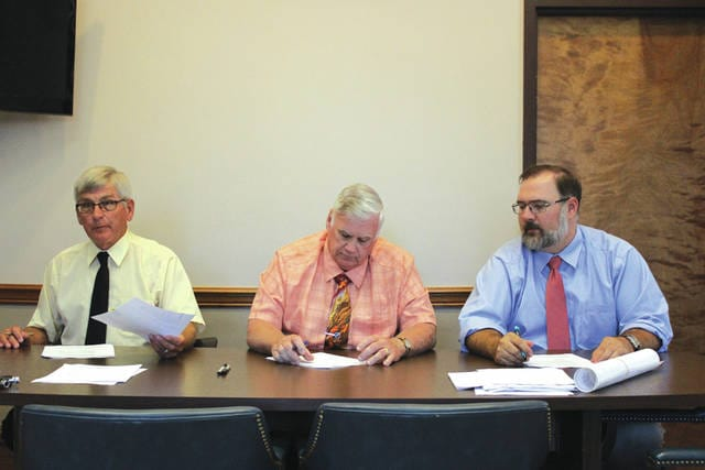 Darke County Commissioners (from left) Mike Rhoades, Mike Stegall and Matt Aultman voted to have a .5-mill levy placed on the November 7 ballot. If passed by Darke County voters, the levy will fund communications equipment for fire, EMS and law enforcement agencies throughout the county.