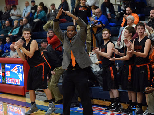 Mackenzie Perry coaches the Bradford boys basketball team during a Cross County Conference game on Jan. 6 at Tri-Village. Perry was announced as the Tri-Village boys basketball coach on Monday.