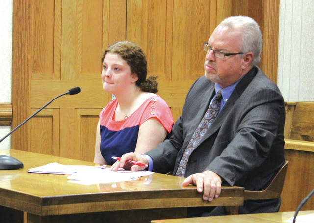 Shaela Thompson (left, with defense attorney Dave Rohrer) pleaded guilty to two drug felonies Monday in Darke County Common Pleas Court. Her sentencing is scheduled for August 18.