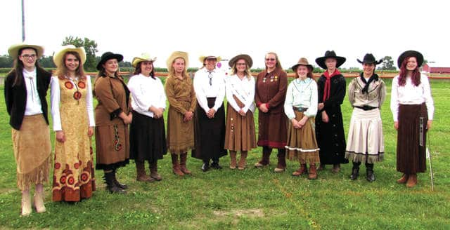 The 2017 Miss Annie Oakley contestants are as follows: left - right: Nina McDaniel, of Greenville; Ira McDaniel, of Greenville; Hope Schaaf, of Greenville; Megan Elizabeth Troutwine, of Ansonia; Mariah Troutwine, of Ansonia; Hannah Bingham, of Greenville; the 2016 Miss Annie Oakley Katie Hurd; Morgan Hissong, of Bradford; Kailey Fourman, of Greenville; Johnna Siegrist, of Greenville; Cierra Miller, of Ansonia and Layla Carrington, of Greenville