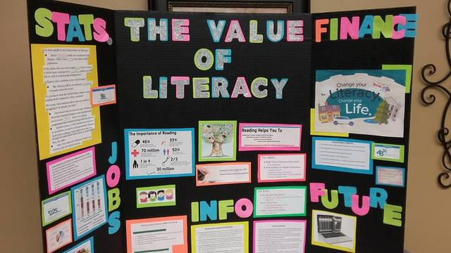 Students spoke about the importance of literacy in the U.S. at the Greenville Public Library.