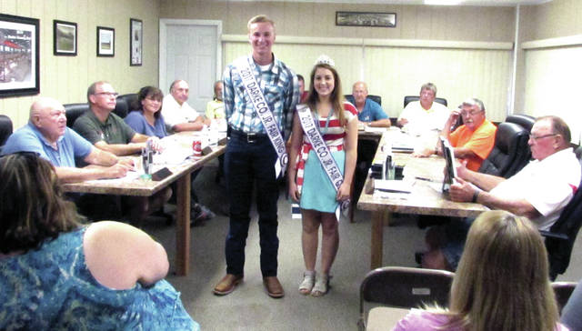 The Darke County Fair board welcomed the 2017 Darke County Junior Fair Queen and King Shelby Manning (right), of Union City, Ohio and Wyatt King, of Greenville, during its meeting July 19.