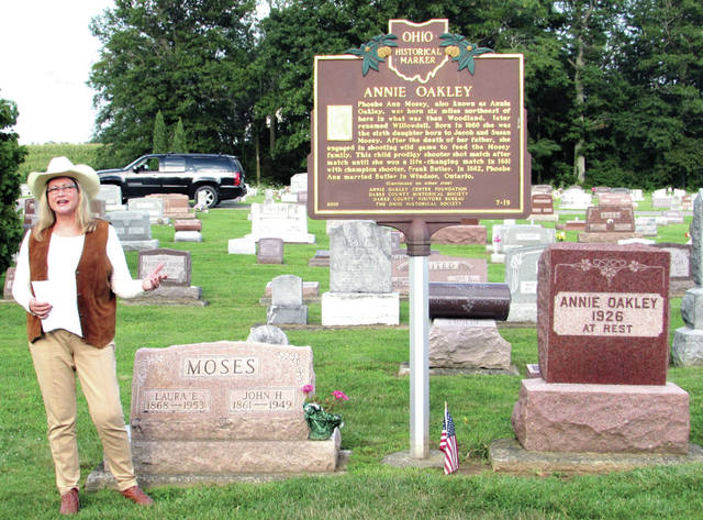 Miss Annie Oakley, 1970, Patty Nisonger Padula, of Fishers, Indiana, shared her love for Annie Oakley at the Pilgrimage to Annie Oakley's Grave, in Brock Cemetery, July 27.