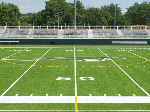 The installation of artificial turf is completed at Greenville's Harmon Field.