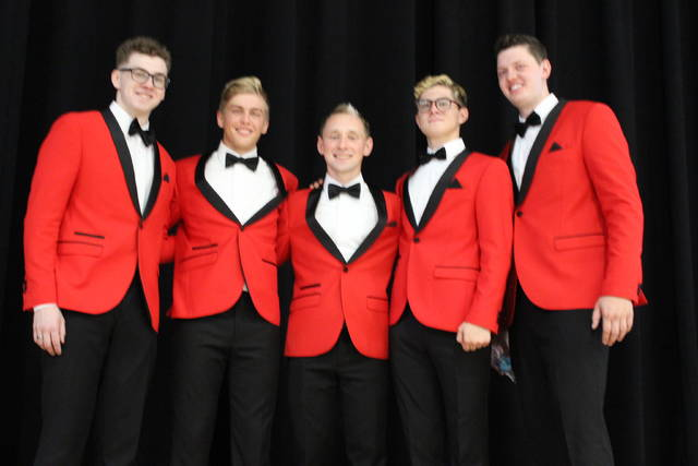 """<p style=""""text-align: left;"""">The Quintessentials. From left to right: Mitchell Rawlins, Brody Hyre, Kyle Wuebker, Quincy Baltes, and Isaac Buschur."""