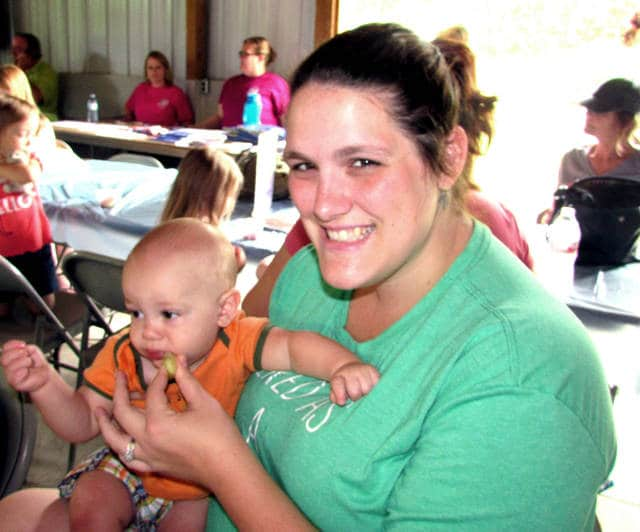 """Courtney Elson, of Greenville and her eight-month-old son Ash, attended the WIC """"Mommy and Me Shower"""", August 11, in Greenville."""