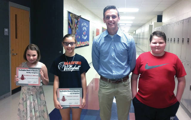 Several students received Student of the Month awards. Pictured from left to right: Isabella Boyer, Tegan Canan, Johnny Rike, and Colton Young.