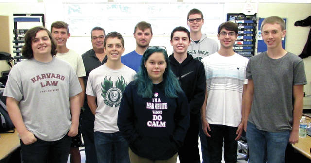 Greenville High School Career Technical Center CIS Tech Crew Program Seniors: Front row Cassie Profitt; Second row from left to right: Maxwell Nealeigh, Maxwell Onkst, Grayson Glancy, Zach Pohl; Third row from left to right: Andrew Kocher, Hunter Bradburn, Ryan Schwieterman; and Back row from left to right: CIS Tech Crew Program Instructor at Greenville High School CTC Instructor Nathan Sharp and Dylan Stepp.