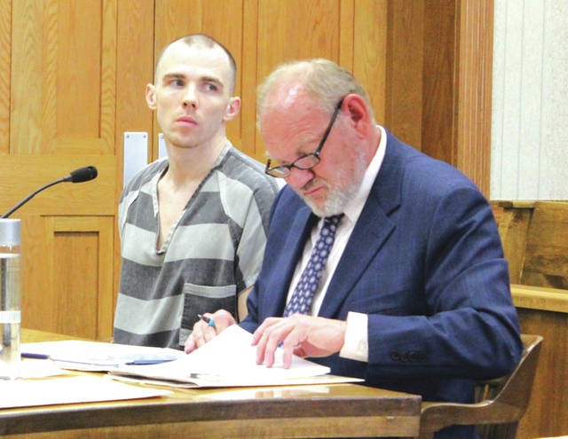 Nicholas Feitshans (left, with attorney Randall Breaden) received up to 60 months of community control after pleading guilty to aggravated possession of drugs. He was sentenced Friday in Darke County Common Pleas Court.