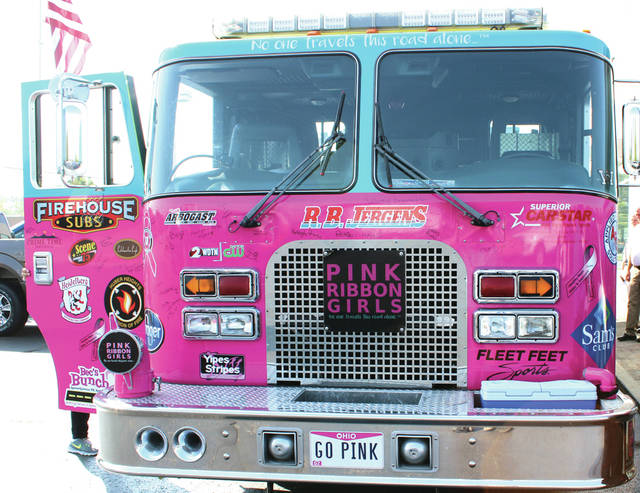 The Pink Ribbon Girls' trademark firetruck was donated with help from firemen in Huber Heights.