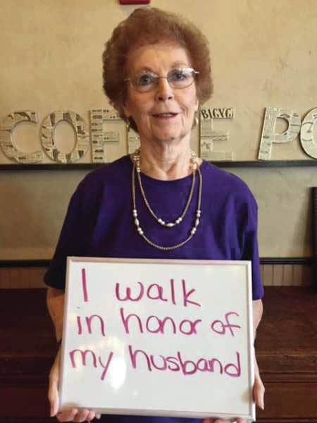 Courtesy photo Greenville resident Dorthy Lentz will participate in this Walk to End Alzheimer's® on Saturday in memory of her husband.