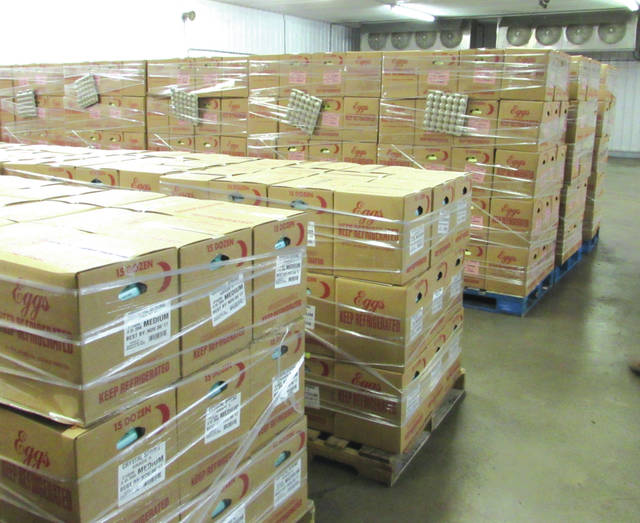 Pallets carrying 144,000 eggs at the Weaver Eggs' Versailles, Ohio, facility are ready to be loaded and shipped to Orlando, Florida. The eggs will be distributed by Second Harvest Food Bank of Central Florida to families in need.
