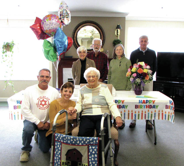 Evelyn Loy celebrated her 100th Birthday Friday at the Oakley Place, a retirement community in Greenville, Ohio. Pictured front row from left to right: grandson Greg Schreck, granddaughter Melissa Schreck, Evelyn Loy; Back from from left to right: daughter Marilyn Delk, son-in-law Larry Delk, daughter-in-law Jennifer Loy and son Dean Loy.