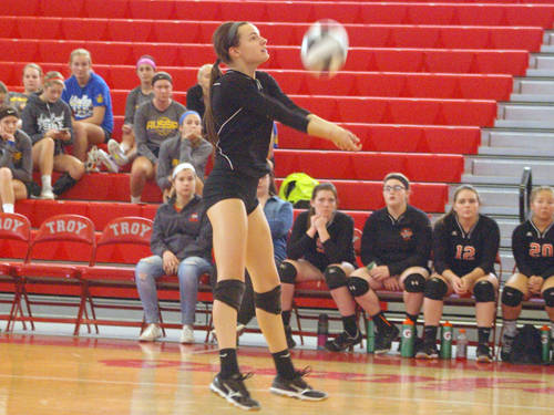 Ansonia's Aliya Barga passes the ball during an Ohio High School Athletic Association sectional tournament volleyball match against Cedarville on Saturday in Troy.