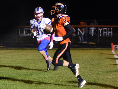 Ansonia's Aydan Sanders scores a touchdown during a Cross County Conference football game against Tri-Village on Friday night in Ansonia.