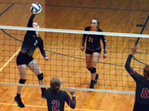 Arcanum's Elle Siculan goes up for a kill during an Ohio High School Athletic Association sectional tournament volleyball match against Dixie on Tuesday at Brookville.