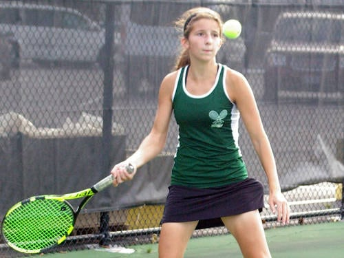Greenville's Emily Marchal returns a shot during a Greater Western Ohio Conference girls tennis match against Tippecanoe on Sept. 28 in Greenville.