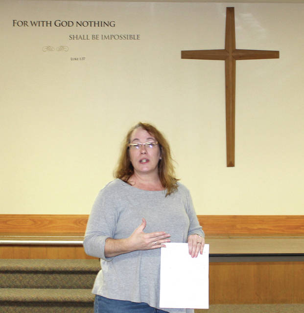 """Trisha Feitshans spoke about alcohol abuse at the Darke County Chapter Families of Addicts (FOA) meeting October 12, at St. Paul's Lutheran Church, in Greenville.""""God had plans for me,"""" she said. """"If you have been through something, and you don't use that to help somebody else, then you went through it for nothing."""""""
