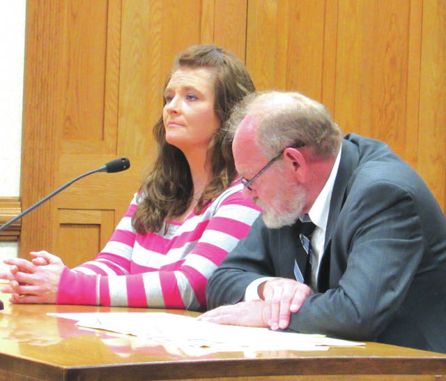 Jamie R. Hampshire (left, with attorney Randall Breaden) will be sentenced December 4 after pleading guilty to one count of aggravated possession of methamphetamine.