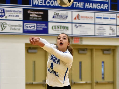 Franklin Monroe's Kennedy Morris passes the ball during a Cross County Conference volleyball match against Mississinawa Valley on Tuesday in Pitsburg.