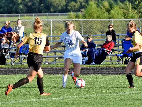 Franklin Monroe's Lina Thiele dribbles the ball during a girls soccer game against Botkins on Sept. 5 in Pitsburg.