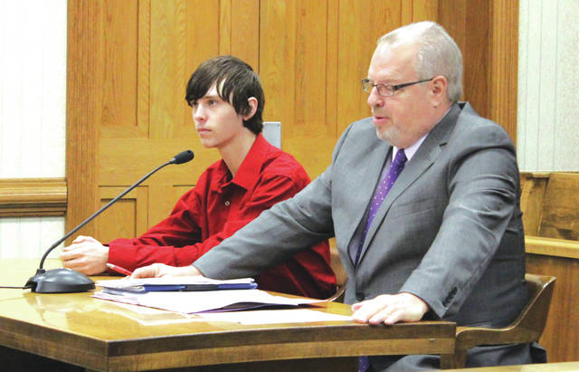Ryan Monahan (left, with defense attorney Dave Rohrer) appeared in Darke County Common Pleas Court Tuesday for a competency hearing. The hearing postponed a trial scheduled to being that day.