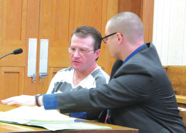 Christopher Silcott (left, with attorney Matthew Pierron) will spend five years in prison after being found guilty on four felony charges in Darke County Common Pleas Court.