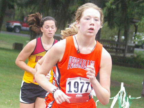 Versailles' Tori Schulze runs during the Treaty City Invitational cross country meet on Sept. 2 in Greenville.