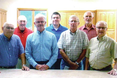 Ansonia United Methodist members: Front row from left to right: Gary Cothran, Tom Brewer, Bill Collins and Ted Strait; Back row from left to right: Mike Henderson, Nate Smith and Bruce Brooks.