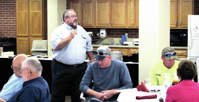 """Tri-County Board of Recovery and Mental Health Services Executive Director Mark McDaniel talks to guests about the """"Power Up Workforce Darke County"""" Pilot Program, at the Darke County Safety Council Steering Committee Meeting September 28, in Greenville."""