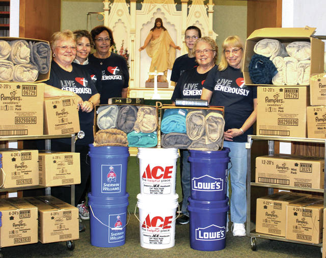 Members of St. John Lutheran Church, in Greenville, helped collect and load supplies headed to the North American Lutheran Church, which has a nationwide disaster relief fund. Pictured left, from front to back: Carol Hoop, Lorri Stephens and Shirley Crotcher; From right, front to back: Birdie Kitchen, Bonnie Tryon and Lori Trittschuh.