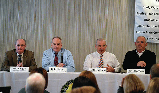 Christina Chalmers | The Daily Advocate Legislative leaders, State Senator Matt Huffman (R-Lima), State Senator Bill Beagle(R-Tipp City), State Representative Keith Faber (R-Celina), and State Representative Steve Huffman (R-Tipp City), spoke at the the Darke County Chamber of Commerce's annual State of the State luncheon.