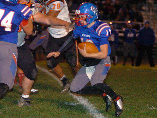 Crestview's Drew Kline runs the ball during an Ohio High School Athletic Association playoff football game against Ansonia on Friday in Convoy.