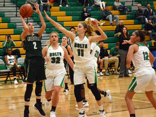 Greenville's Haleigh Mayo puts up a shot during a girls basketball game against Northmont on Wednesday in Clayton.