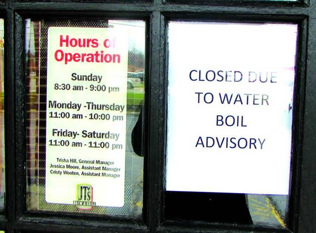 Carolyn Harmon|The Daily Advocate Due to the City of Greenville's water advisory put into effect Saturday, many restaurants were closed on Sunday like Bob Evans, JT's Brew & Grill and the Coffee Pot.